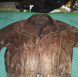 WILSONS fabulous brown L leather bomber jacket